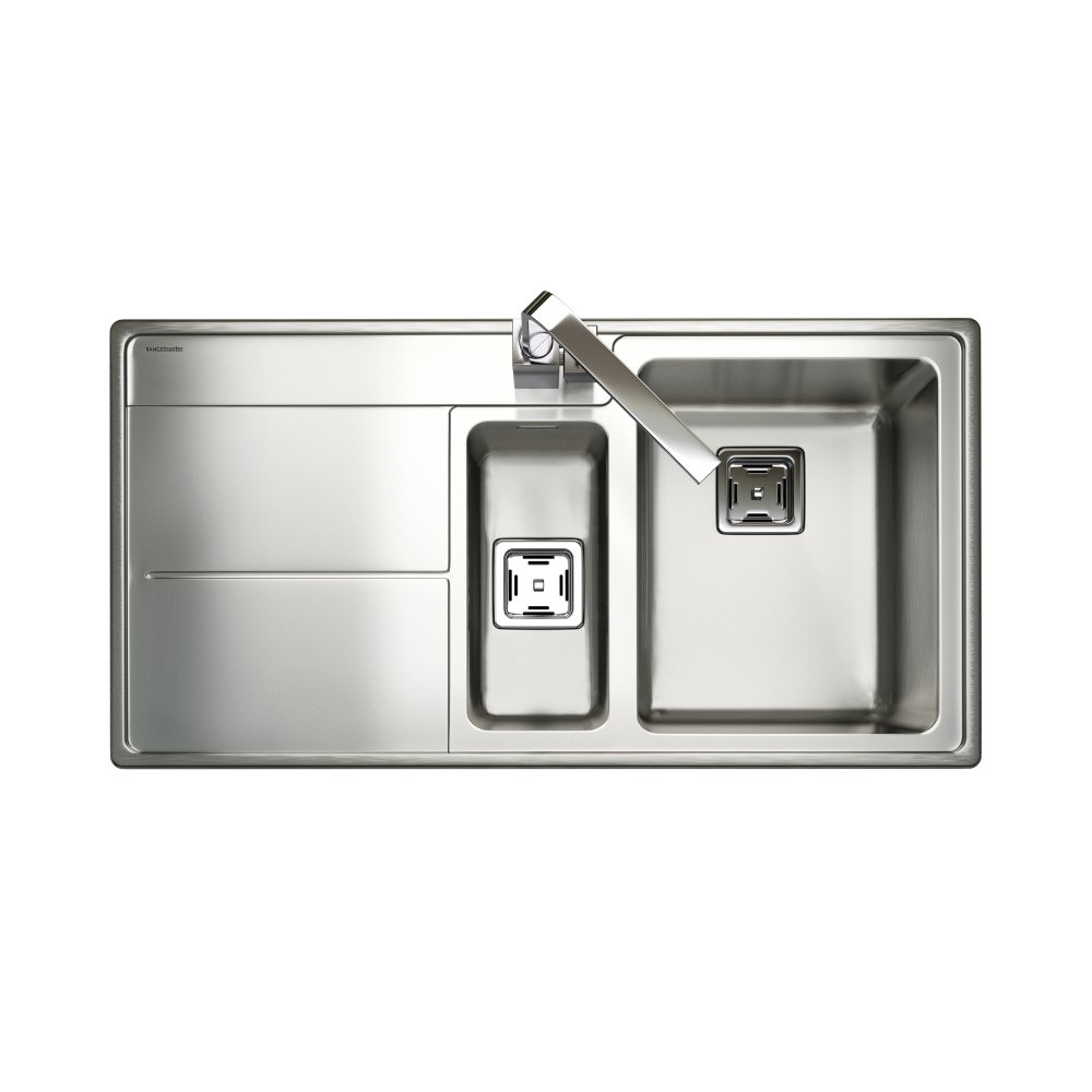 rangemaster kitchen sinks rangemaster arlington handed sink 1 5 bowl in stainless steel 1721
